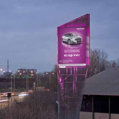 An outdoor digital billboard