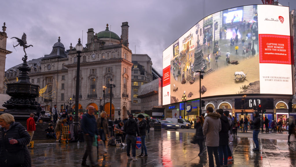 Abu Dhabi Tourism Campaign at Piccadilly Circus