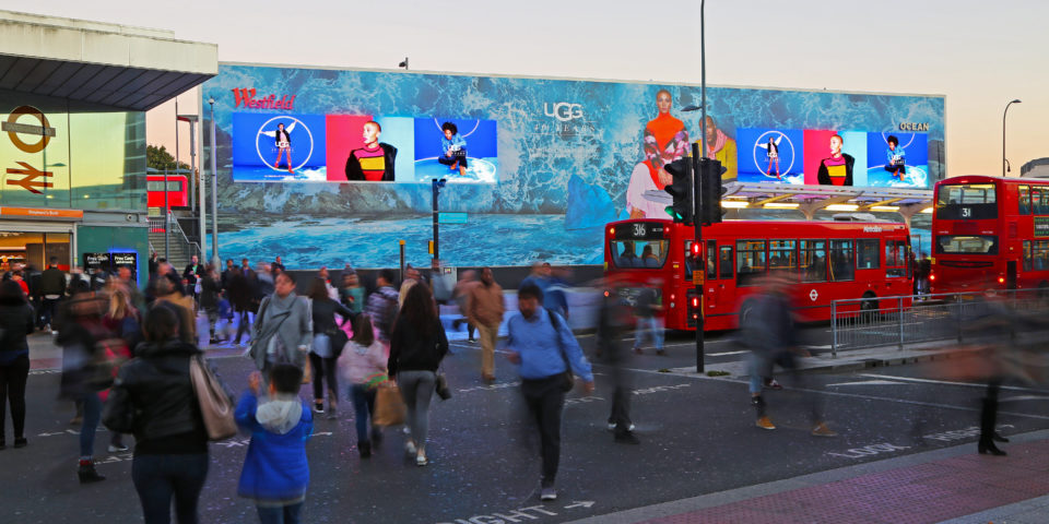 The Wall video wall at Westfield London