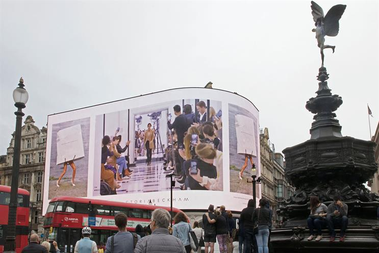 The Victoria Beckham fashion event on Piccadilly Lights