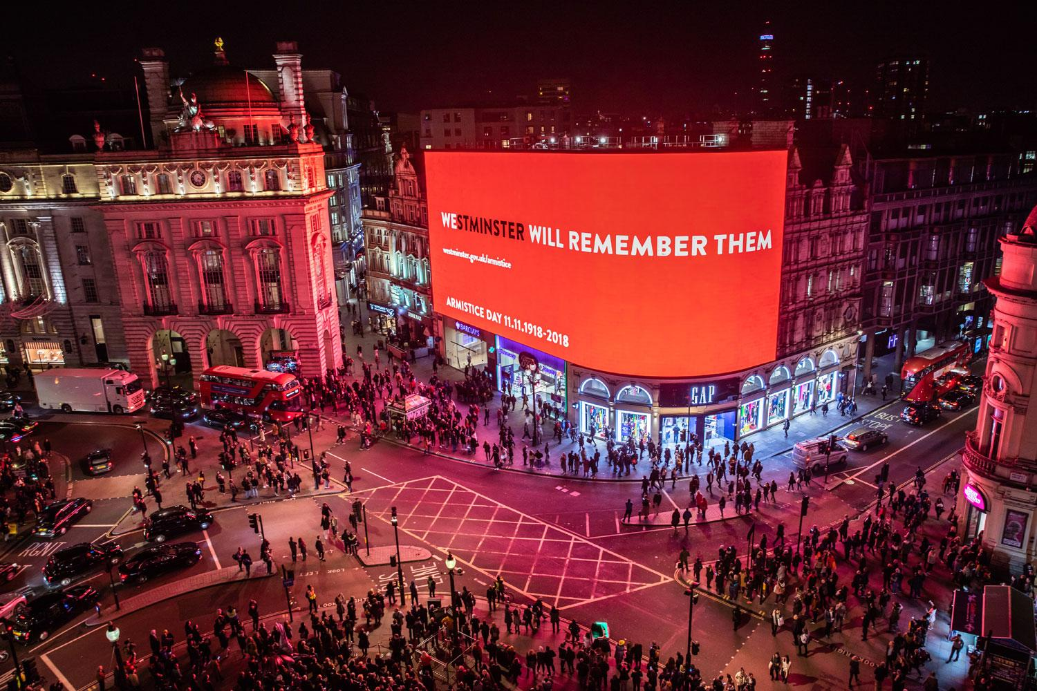 A view over Piccadilly Circus during the WWI Armistice commemoration